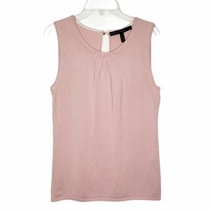 WHBM Pink Pleated Neck Sleeveless Shell Top NWT XS